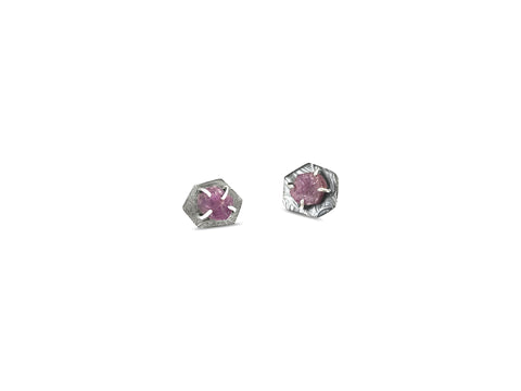 Rough Ruby Post Earrings - Ruby