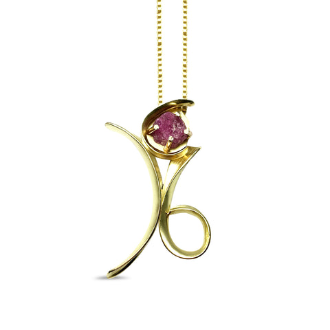 Free Form Anticlastic Necklace - 18k Gold / Ruby pattieparkhurst