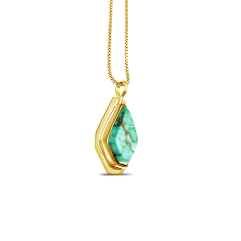 Geometric Necklace - Gold / Turquoise pattieparkhurst
