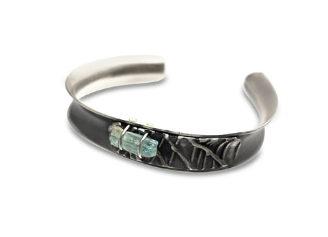 Colorado aquamarine with layered texture bracelet