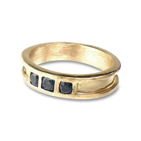 Channel Set 18k Gold Sapphire Ring