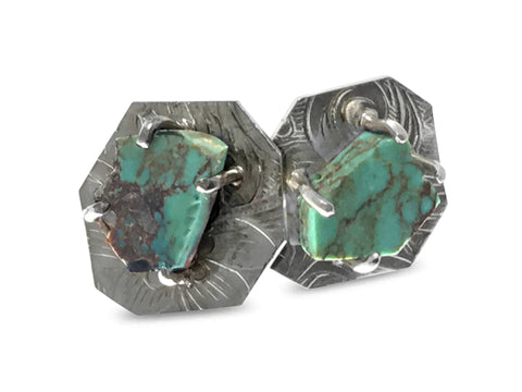 Octagon Turquoise Earrings
