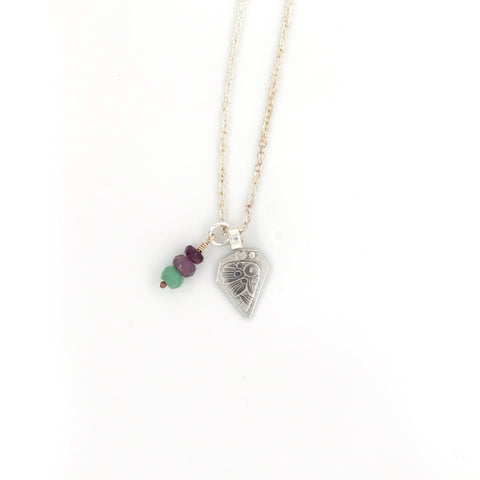 In Bloom Joyful Necklace- Chrysopraise, Amethyst, Garnet