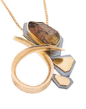 Copy of gold and silver leaf necklace with square pink tourmaline pattieparkhurst