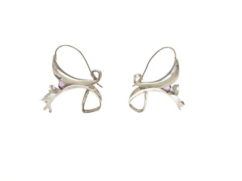 Hand Raised Flower Earrings with Amethyst