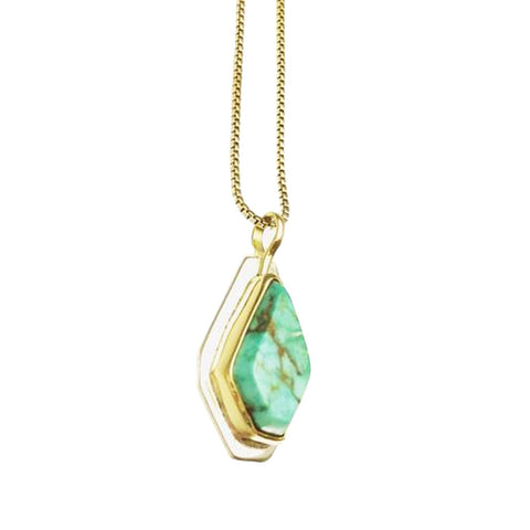 Nevada Turquoise 18k gold and Sterling Silver Necklace