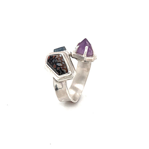 Dino Bone, Purple Amethyst and Blue Sapphire Ring