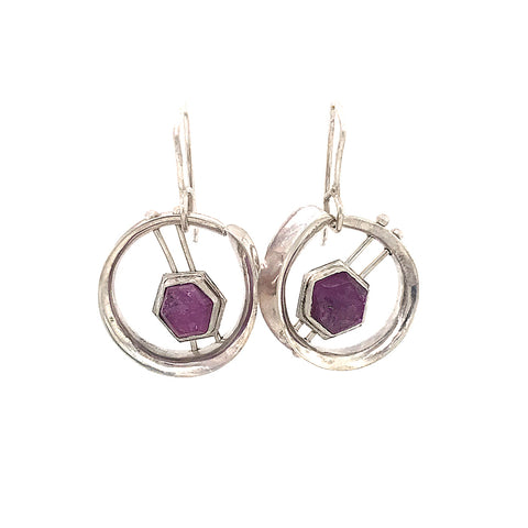 Art Deco Rough Ruby Hoops