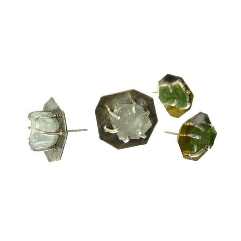 "3/8"" Inch Raw Stone Prong Set Stud Earrings"