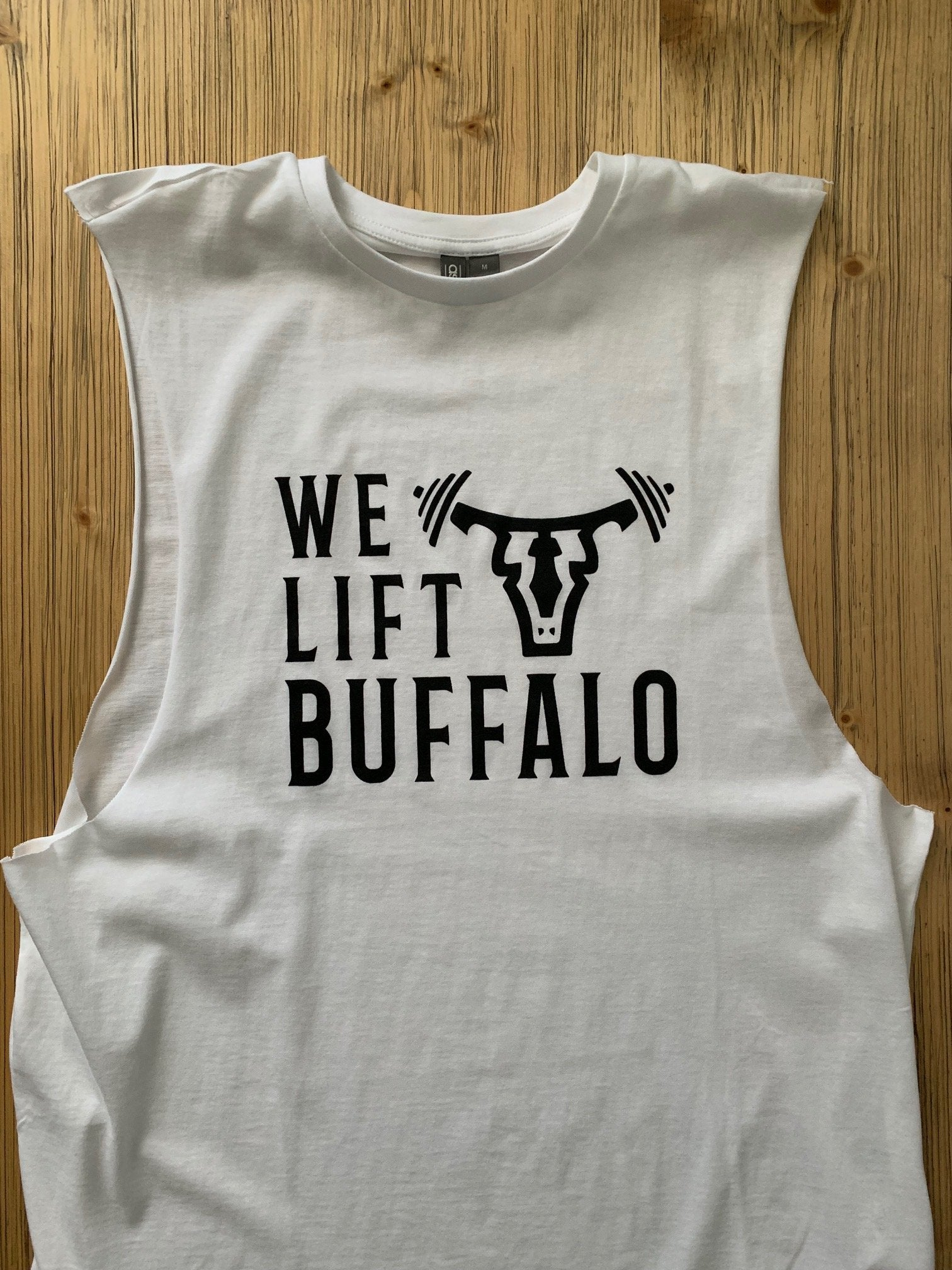 We Lift Unisex Dropped Armhole Tank White/Black