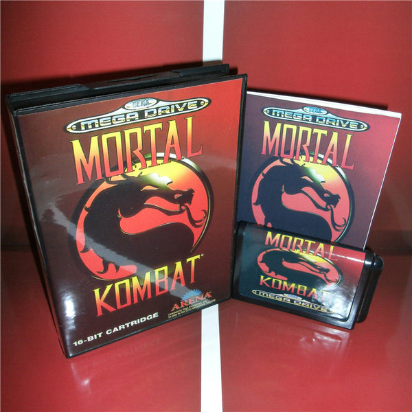 Mortal Kombat EU Cover with box and manual for Sega MegaDrive Genesis Video Game Console 16 bit MD card