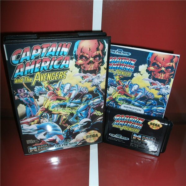 Captain America and The Avengers US Cover with box and manual for MD MegaDrive Video Game Console 16 bit MD card