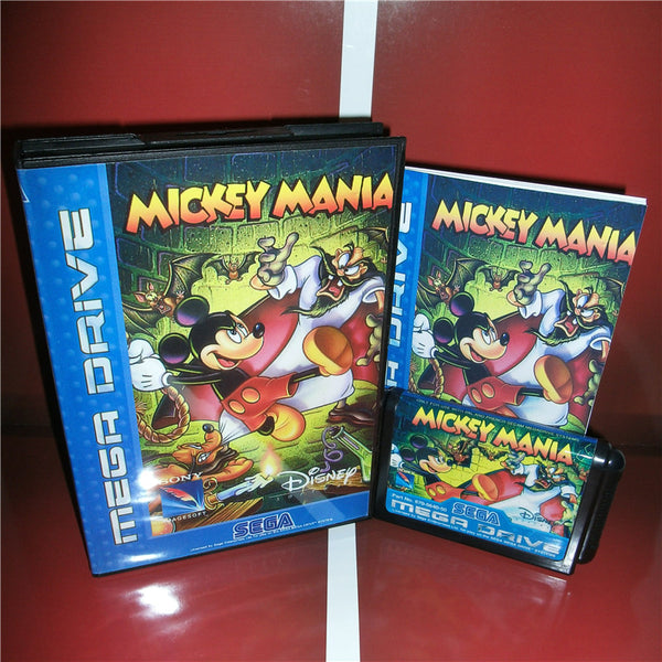 Mickey Mania EU Cover with box and manual for Sega MegaDrive Genesis Video Game Console 16 bit MD card