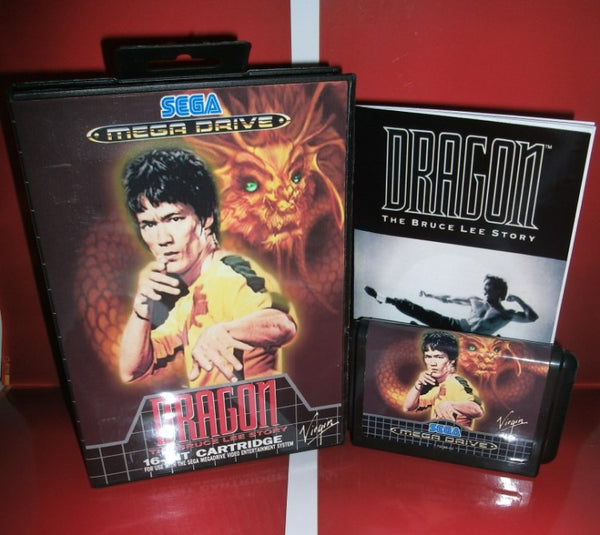 Dragon - The Bruce Lee Story EU Cover with box and manual for Sega MegaDrive Genesis Video Game Console 16 bit MD card