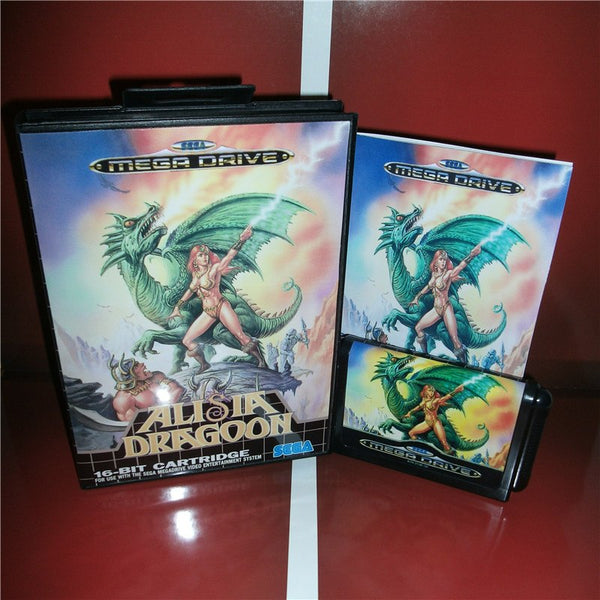 Alisia Dragoon EU Cover with box and manual For Sega Megadrive Genesis Video Game Console 16 bit MD card