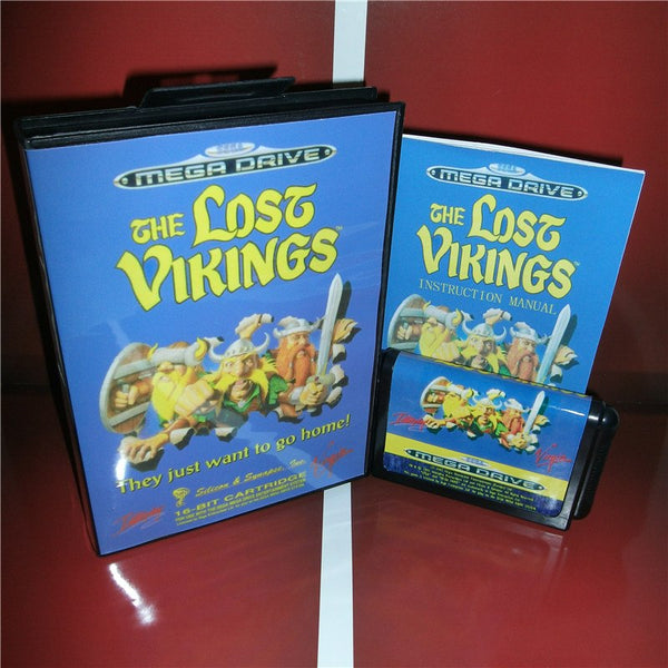 The Lost Vikings EU Cover with box and manual for Sega MegaDrive Genesis Video Game Console 16 bit MD card