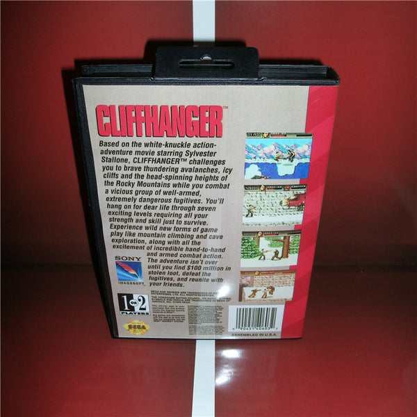 Cliffhanger US Cover with box and manual for MD MegaDrive Video Game Console 16 bit MD card
