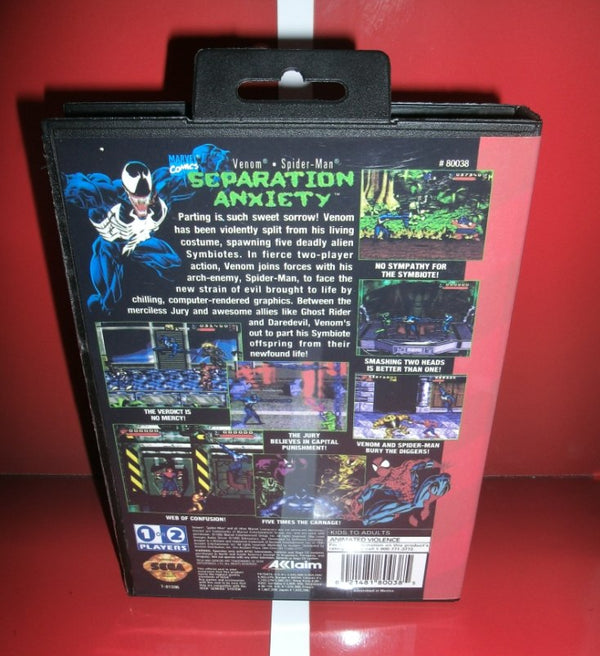 Spider-Man and Venom - Separation US Cover with box and manual for MD MegaDrive Video Game Console 16 bit MD card