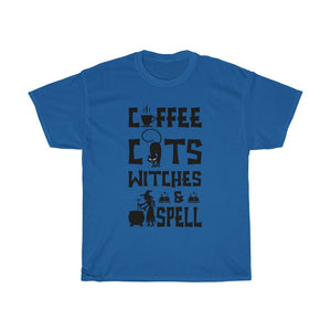 Coffee Cats Witches and Spell Halloween Unisex T-Shirt