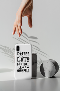 Coffee Cats Witches and Spell Halloween Tough Phone Case