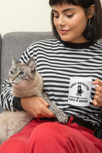 Easily Distracted by Cats and Books - Funny Book Lover Coffee Mug