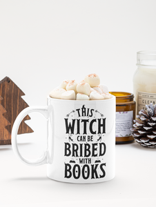 This Witch Can Be Bribed With Books - Funny Halloween Book Lover Coffee Mug