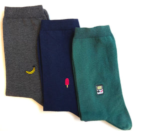 Embroidered socks | set of 3 pairs