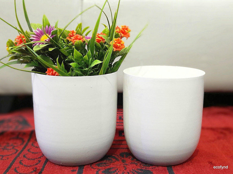 4.3 inches Metal Planter - White