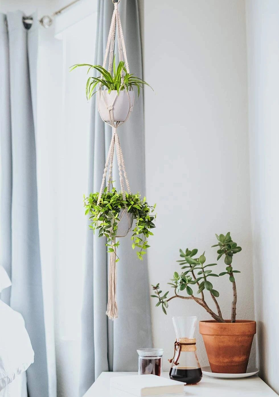 Two Tier Macrame Cotton Plant Hanger, 1 Pack