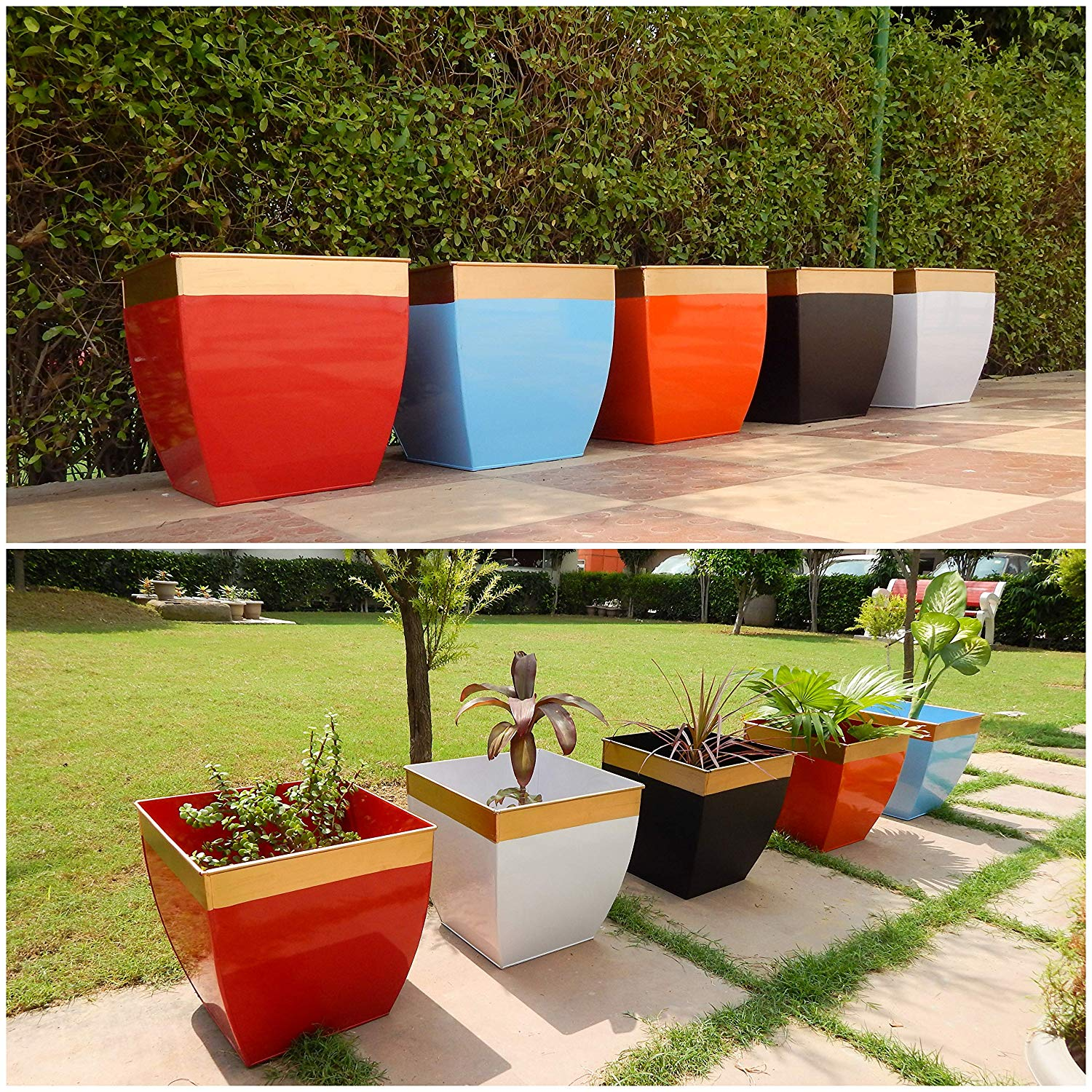 Midland 12 inches Multicolor Tapered Planter
