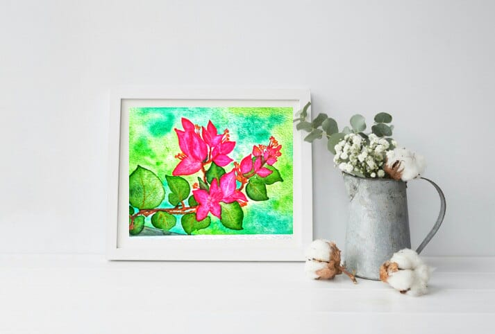 Naniart Handpainted Bougnvillea Canvas Wall Art