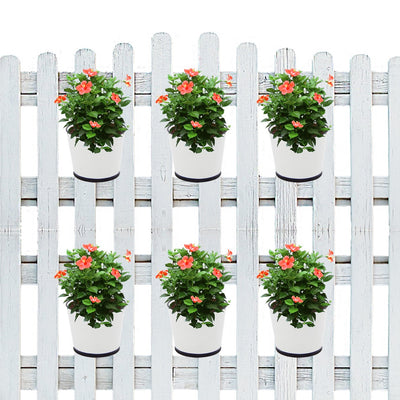 ecofynd 5.5 inches Balcony Railing Planter with Detachable Handle, White - Ecofynd Online Home and Garden Store