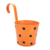 ecofynd Round Polka Dot Balcony Railing Planter with Detachable Handle, Orange - Ecofynd Online Home and Garden Store