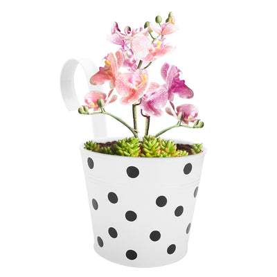 ecofynd Round Polka Dot Balcony Railing Planter with Detachable Handle, White - Ecofynd Online Home and Garden Store