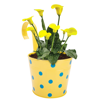 ecofynd Round Polka Dot Balcony Railing Planter with Detachable Handle, Yellow - Ecofynd Online Home and Garden Store
