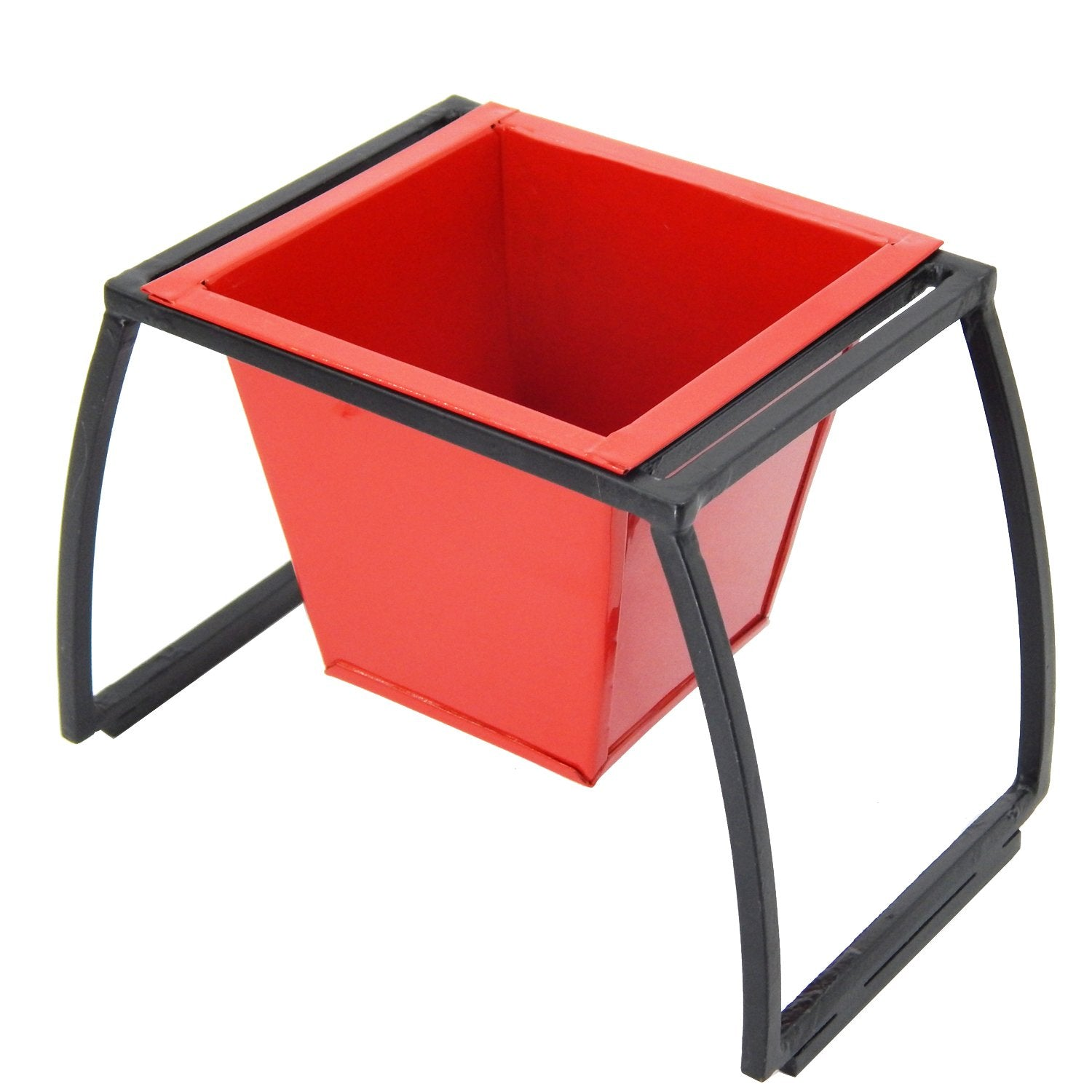 ecofynd Stackable Table Top Planter Pot with Metal Stand {WITHOUT PLANTS}, Red - Ecofynd Online Home and Garden Store