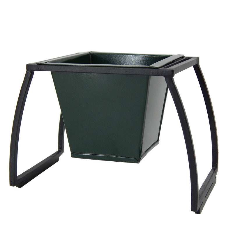 ecofynd Stackable Table Top Planter Pot with Metal Stand, Dark Green