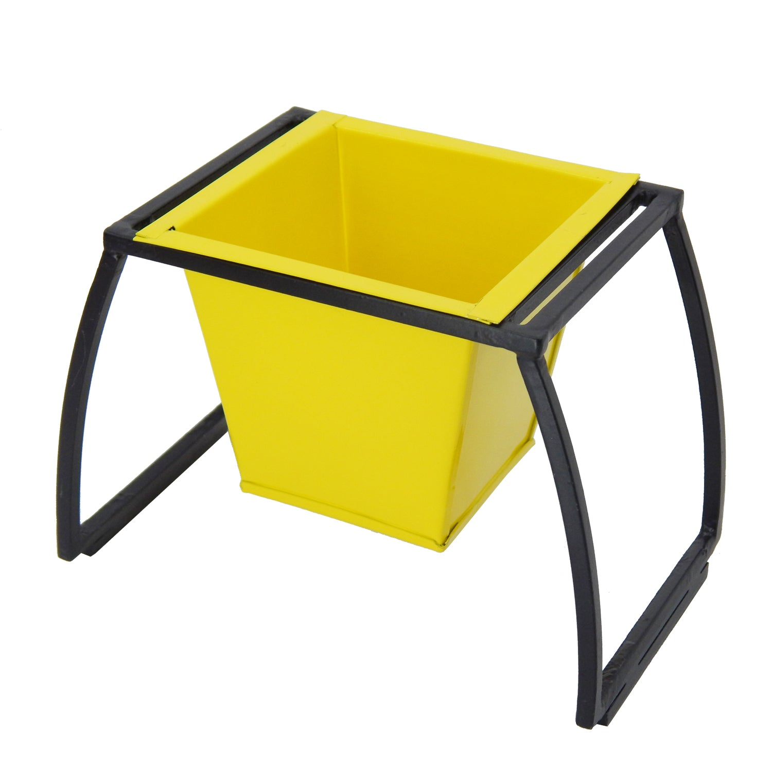 ecofynd Stackable Table Top Planter Pot with Metal Stand, Yellow