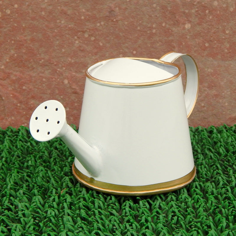 ecofynd 250 ml White Watering Can with Gold Border for Kids
