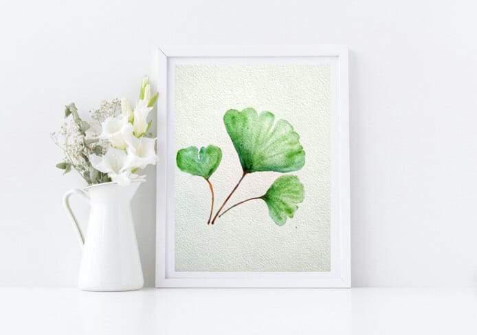 Naniart Handpainted Ginko Leaf Canvas Wall Art