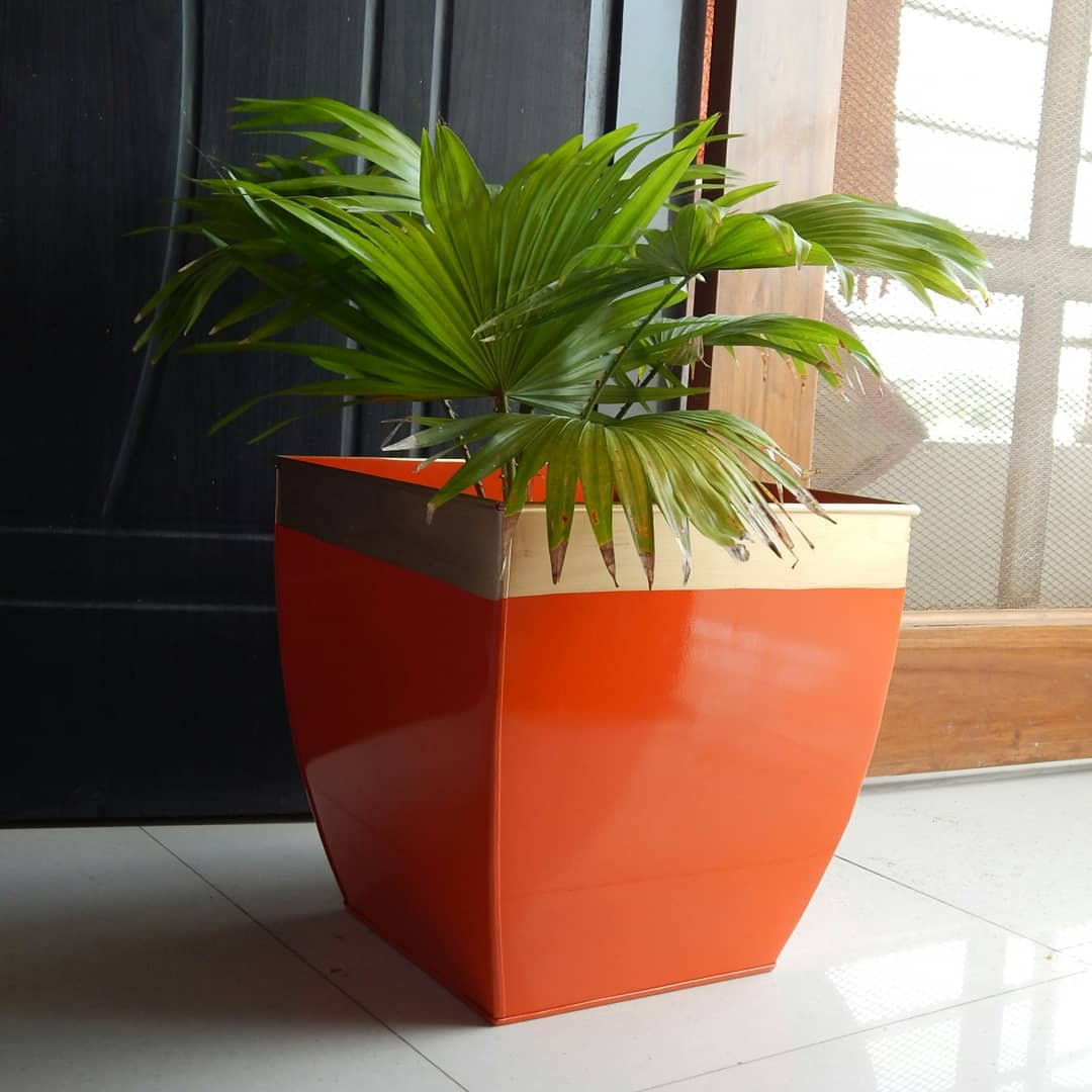 Midland 12 inches Orange Tapered Planter