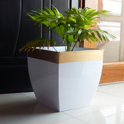 Midland 12 inches White Tapered Planter