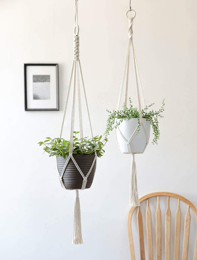 Macrame Cotton Plant Hanger, 2 Pack