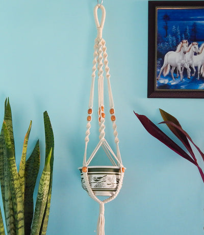Macrame Cotton Plant Hanger with Beads