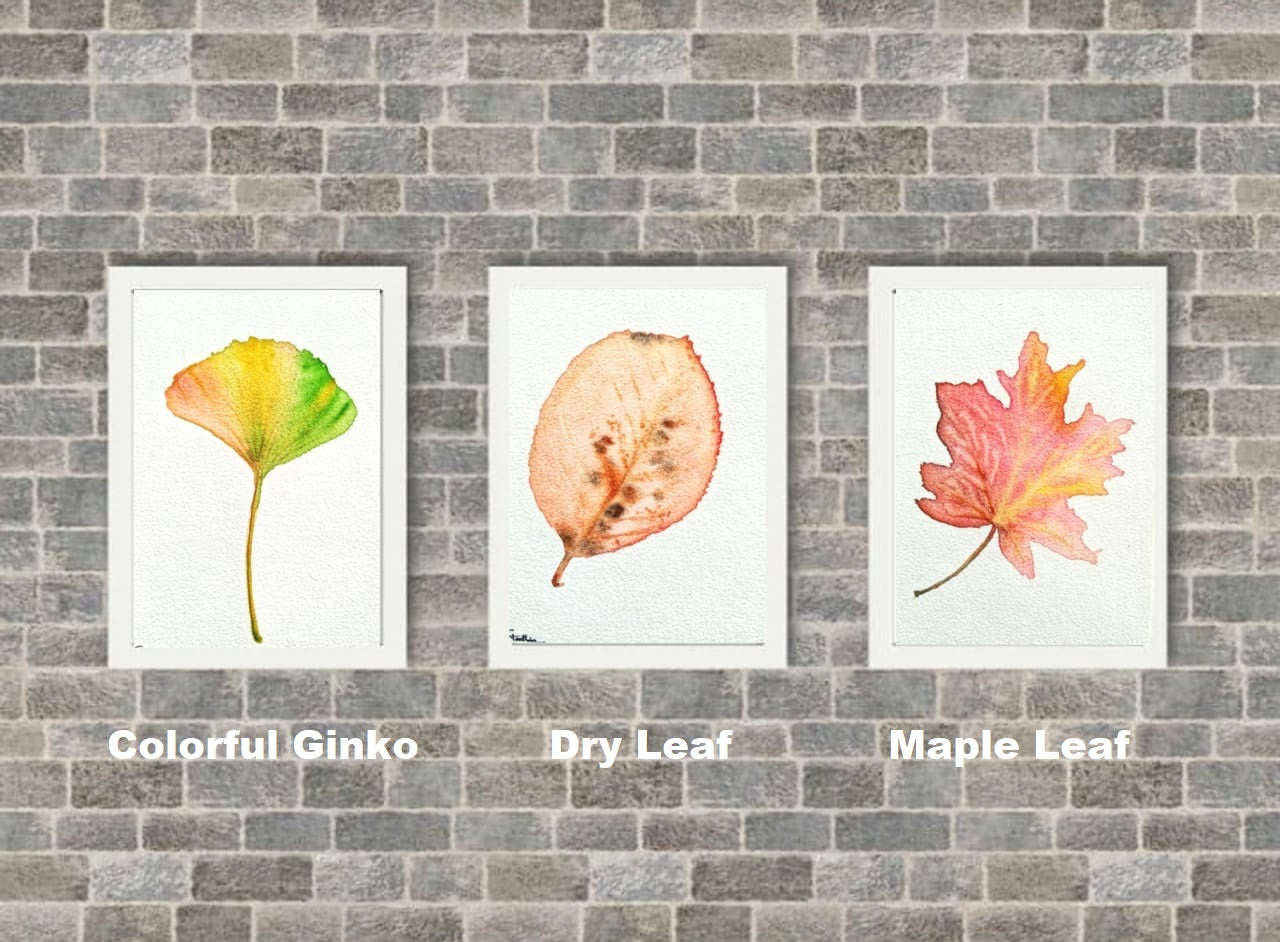 Naniart Handpainted Colourful Ginko Leaf Canvas Wall Art