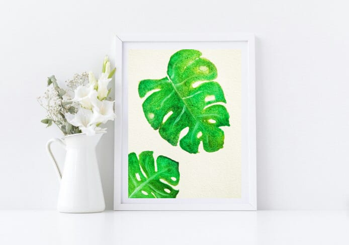 Naniart Handpainted Monstera Leaf Canvas Wall Art