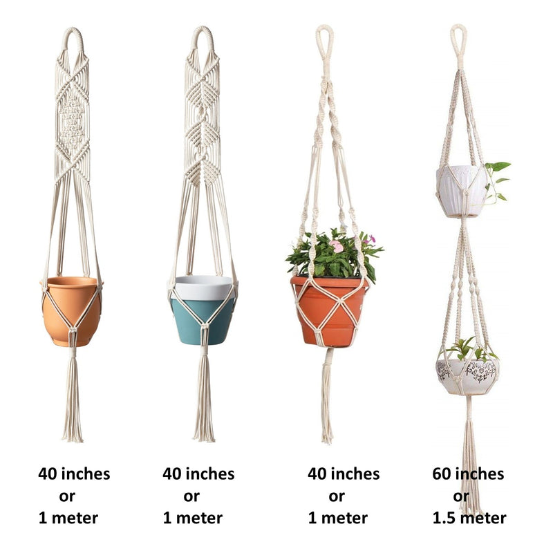 Macrame Cotton Plant Hanger - Set of 4