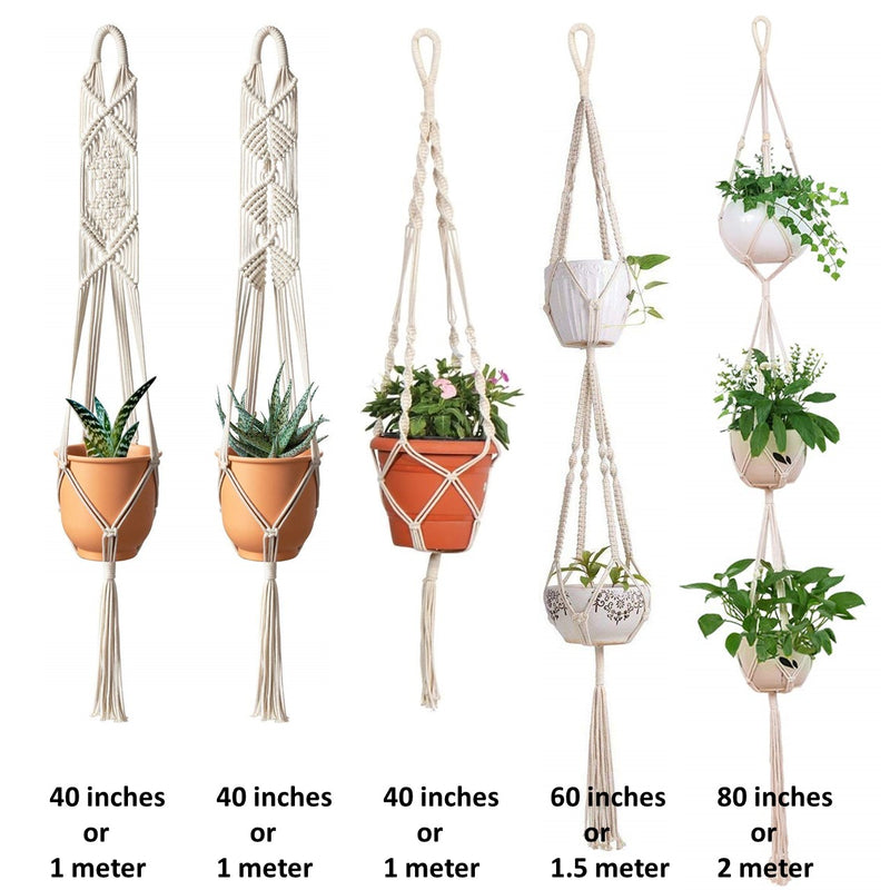 Macrame Cotton Plant Hanger - Set of 5