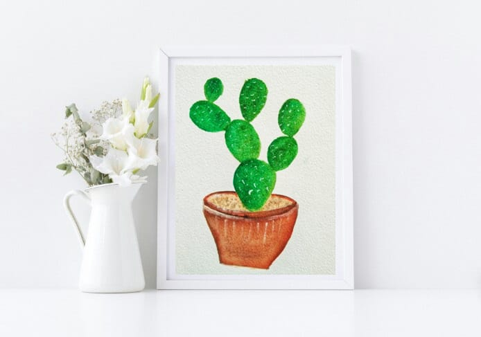 Naniart Handpainted Cactus with pot Canvas Wall Art