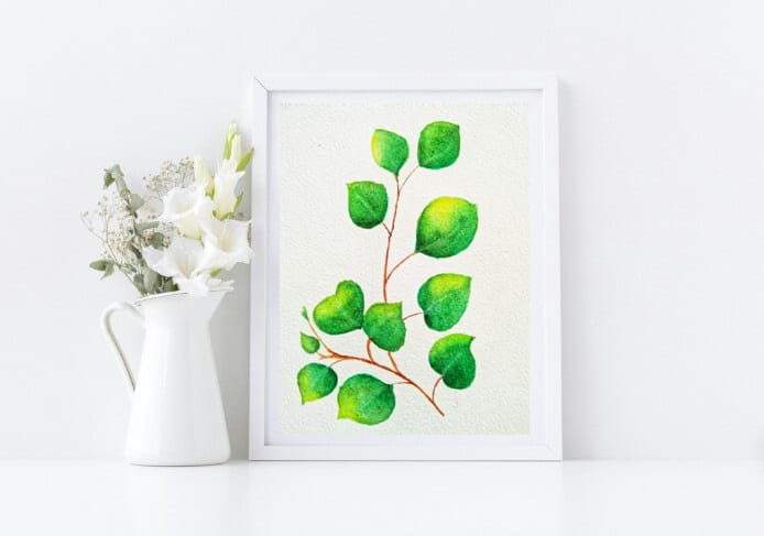 Naniart Handpainted Green Leaves Canvas Wall Art
